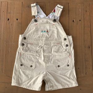 Janie and jack khaki sailboat shortalls